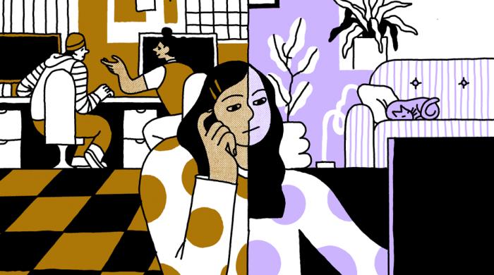 Illsutration of a hybrid worker by Illustration by Olenka Malarecka https://www.instagram.com/olenkamm/